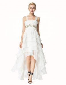 Smart White Organza Lace Up Straps Sleeveless High Low Pageant Dress Womens Beading