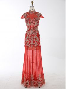 Fine Mermaid Cap Sleeves Backless Floor Length Beading and Appliques High School Pageant Dress