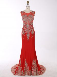 Artistic Mermaid Scoop Red Zipper Pageant Dress Womens Beading and Appliques Sleeveless With Brush Train