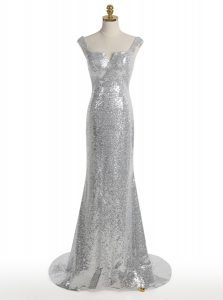 Mermaid Sequins Square Sleeveless Sweep Train Zipper Winning Pageant Gowns Silver Sequined