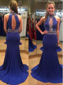 Edgy Sequins Court Train Mermaid High School Pageant Dress Royal Blue High-neck Chiffon Sleeveless With Train Backless