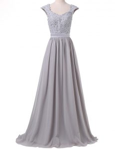 Scoop Cap Sleeves Lace and Pleated Lace Up Pageant Gowns