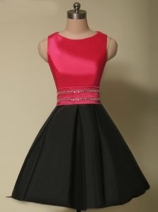 Dazzling Scoop Red And Black A-line Beading Custom Made Pageant Dress Lace Up Satin Sleeveless Mini Length