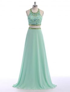 Nice Scoop Apple Green Sleeveless Chiffon Sweep Train Criss Cross Pageant Dress Toddler for Prom
