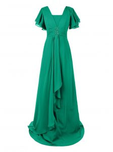 Chiffon V-neck Short Sleeves Sweep Train Zipper Beading and Ruching Evening Gowns in Green