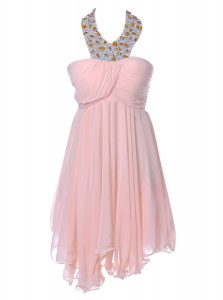 Baby Pink A-line Chiffon Strapless Sleeveless Beading Knee Length Backless Pageant Dresses