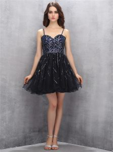 Black Tulle Lace Up Spaghetti Straps Sleeveless Mini Length Pageant Dress Womens Sequins