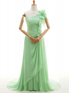 Luxurious Green One Shoulder Lace Up Ruffles and Hand Made Flower Winning Pageant Gowns Sweep Train Sleeveless