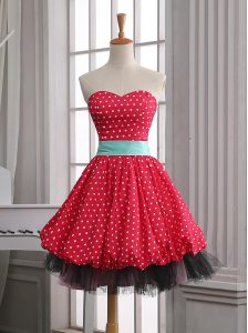 Mini Length Zipper Pageant Dress for Teens Red for Party with Lace and Pleated