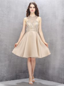Knee Length Champagne Pageant Dress for Womens High-neck Sleeveless Criss Cross