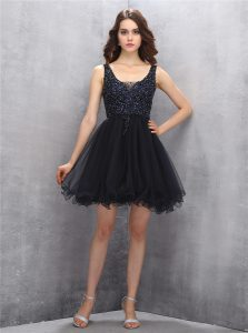 Black Zipper Square Beading Winning Pageant Gowns Tulle Sleeveless