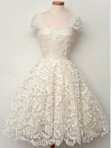 Latest White Zipper Scoop Lace Winning Pageant Gowns Lace Cap Sleeves