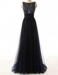 Backless Black Sleeveless Sweep Train Beading With Train Evening Gowns