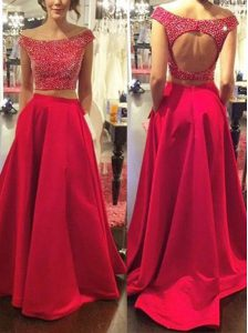 Stylish Red Backless Off The Shoulder Beading Custom Made Pageant Dress Satin Sleeveless Sweep Train