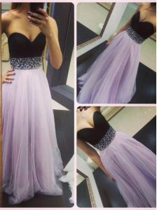 Lavender A-line Beading Pageant Gowns Zipper Tulle Sleeveless Floor Length