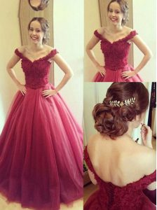 Customized Off the Shoulder Sleeveless Tulle Floor Length Lace Up Pageant Dress for Teens in Fuchsia with Appliques