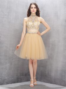 Dazzling Champagne High-neck Zipper Beading Pageant Gowns Sleeveless