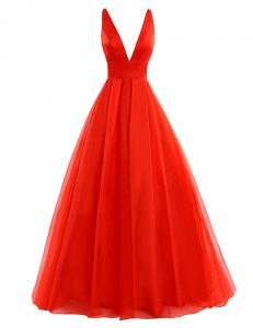 Coral Red Sleeveless Pleated Zipper Pageant Dress for Girls