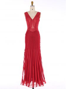 Mermaid Red Pageant Dress Prom and Party with Sequins V-neck Sleeveless Zipper