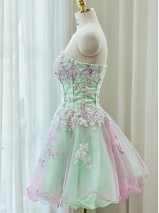 Classical Multi-color A-line Organza Strapless Sleeveless Beading and Appliques Mini Length Zipper Pageant Dress Wholesale