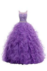 Straps With Train Purple Pageant Gowns Organza Sweep Train Sleeveless Beading and Belt