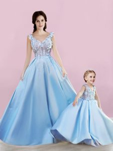Baby Blue Lace Up Winning Pageant Gowns Appliques Sleeveless Floor Length