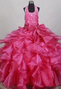 Wonderful Halter Top Fuchsia Beaded Dress for Pageants in NJ with Bowknot
