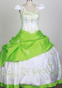 Impressive Square Lace-up Interview Pageant Suits in White and Spring Green