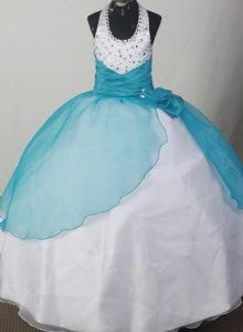 Attractive Beaded Halter Teal and White Long Pageant Girl Dresses under 200