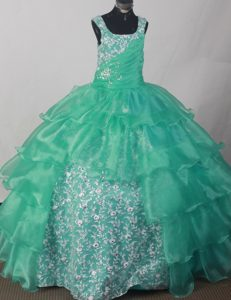 Square Ruched and Appliqued Long Magnificent Pageant Dresses in Turquoise