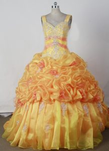 Romantic Beaded Lace-up Yellow Miss Universe Pageant Dress with Appliques