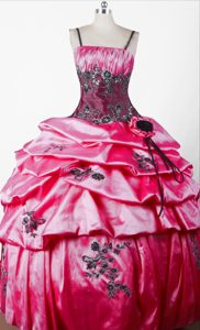 Beautiful Spaghetti Lace-up Pink Pageant Dresses for Miss USA with Appliques
