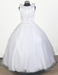 Classical Embroidered Scoop Tulle and Taffeta Long Pageant Dresses for Girls