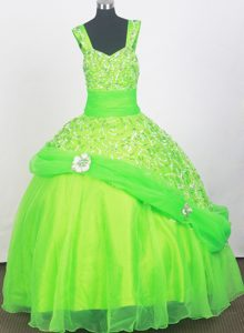 Memorable Beaded Zipper-up Long Beauty Pageant Dresses in Spring Green