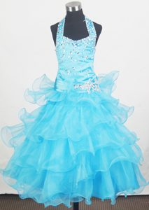 Fabulous Beaded Halter and Ruffled Long Youth Pageant Dresses in Aqua Blue