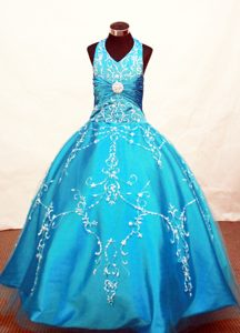 Attractive Tulle Halter Blue Natural Beauty Pageants Dresses with Appliques