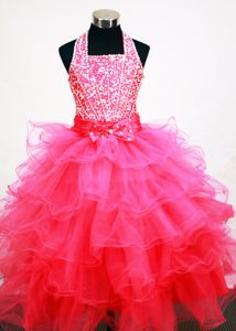 Magnificent Ruffled Hot Pink Halter Top Interview Pageant Suits with Beading