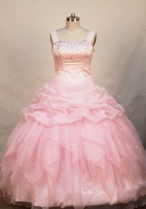 Baby Pink Organza Beaded Romantic Pageant Dresses with Straps for Spring