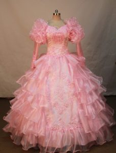 Best Seller Watermelon Organza Long Sleeves Miss Universe Pageant Dress
