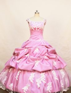Classical Rose Pink Scoop Pageant Dresses for Miss America with Pick-ups