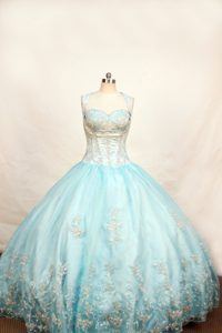 Light Blue Lace-up Appliqued Long Gorgeous Pageant Dresses for Miss USA