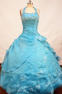 Appliqued Halter Top Organza Floor-length Fabulous Pageant Dress in Teal