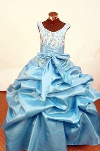 Straps Ball Gown Blue Appliques Little Girl Pageant Dress with Pick-ups and Bow
