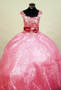 Square Straps Hot Pink Ball Gown Sequin Little Girl Pageant Dress with Bowknot
