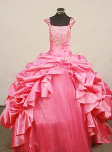Baby Pink Straps Taffeta Little Girl Pageant Dresses with Pick-ups and Appliques