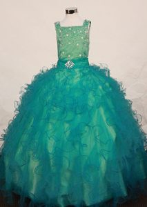 Green Square Straps Little Girl Pageant Dress with Beading and Ruffles for Cheap