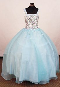 Straps Square Baby Blue Ball Gown Little Girl Pageant Dress with Beading on Sale