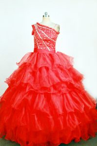 New One Shoulder Red Organza Little Girl Pageant Dress with Ruffles and Beading