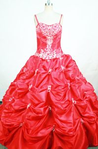 Spaghetti Straps Ball Gown Red Appliqued Little Girl Pageant Dress with Pick-ups