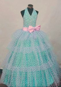 Halter Turquoise and White Princess Layered Little Girl Pageant Dress with Pink Bow